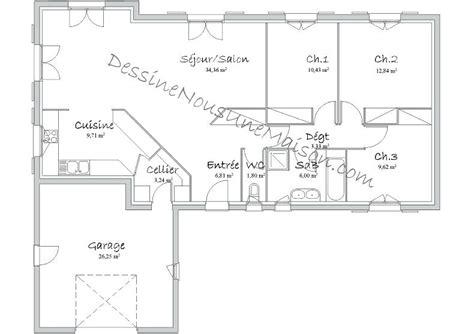 plan de maison 100m2 3 chambres architectures plans de maisons plain pied plan de la