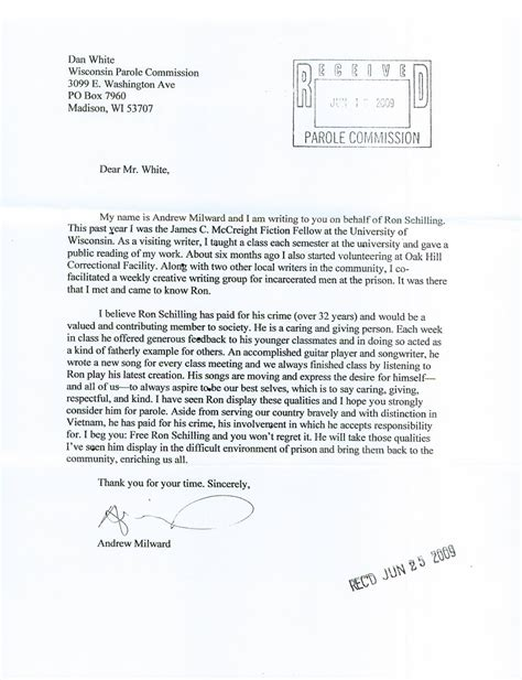 Sle Support Letter To The Parole Board Free Schilling 05 10 12