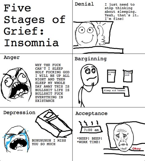 Five Stages Of Sleep Essay by Insomnia Rage Comic The Five Stages Of Grief Your Meme