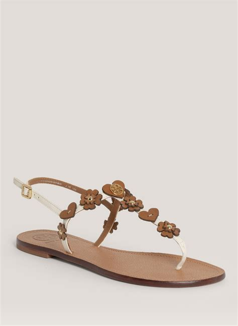 white burch sandals burch cori flowerdetail flat sandals in white lyst