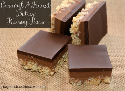Peanut Butter Rice Krispie Bars With Chocolate Topping by Caramel Peanut Butter Krispy Bars Topped With A Thick