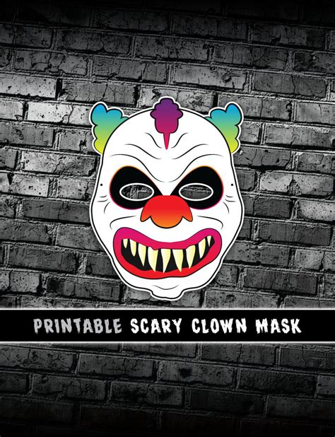 printable clown mask scary clown mask creepy halloween mask printable costume