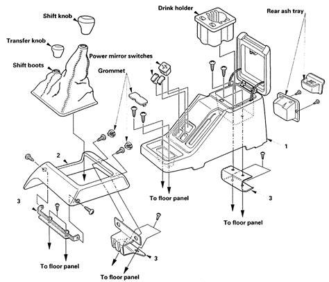 how to remove transmissio on a 1995 isuzu rodeo repair guides interior center console autozone com