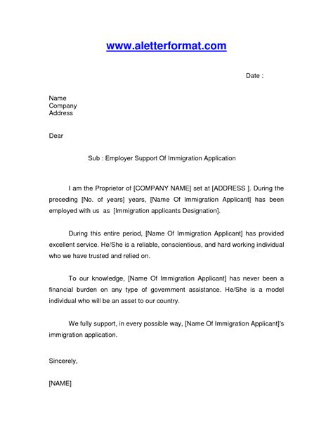 Canada Immigration Reference Letter Format immigration letter of recommendation sle