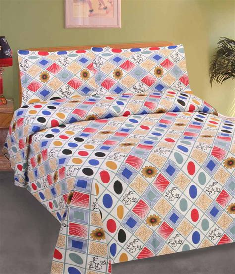 goodwill multicolour cotton bedsheet with 2 pillow
