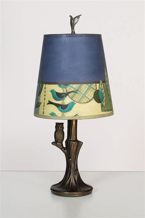 bronze owl l with small drum shade in new