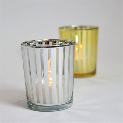 Votive Candle Holder Stripe Votive Tea Light Glass Candle Holder Silver 2 5