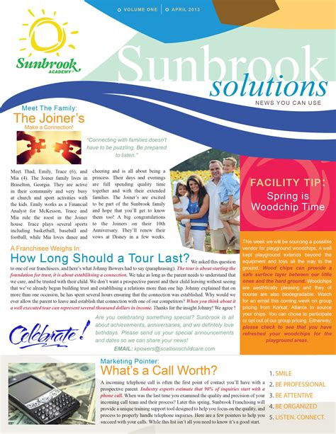 A Newsletter Template Designed For Sunbrook Academy Created Using Adobe Illustrator Photoshop Print Newsletter Templates Photoshop