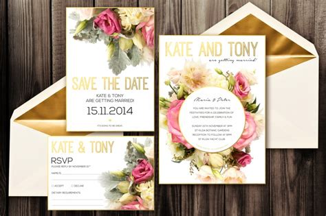 blush wedding invitation pack psd zepol