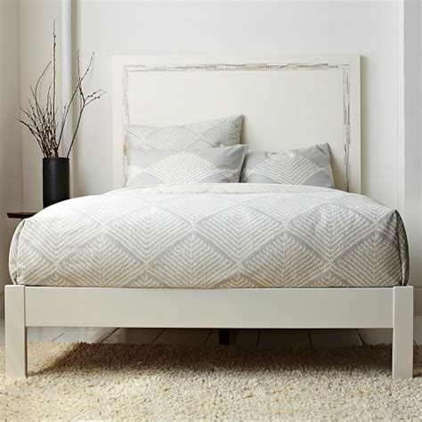 simple bed frame white west elm