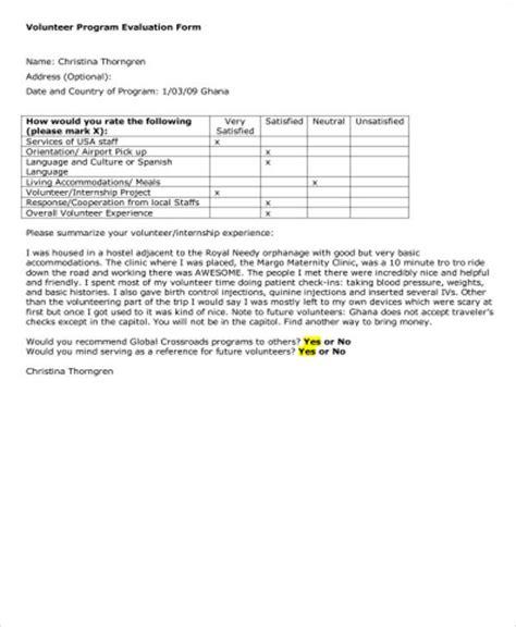 9 Sle Program Evaluation Forms Sle Templates Volunteer Program Template