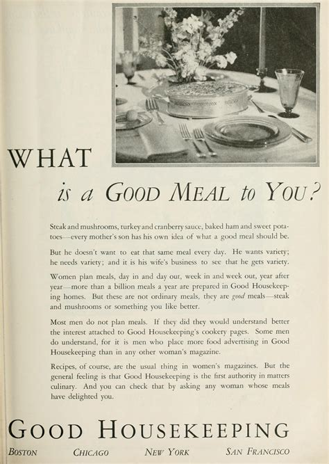 good housekeeping magazine trade ad what is a good meal