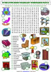 Living Room ESL Printable Worksheets and Exercises