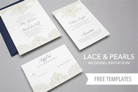 Free Invitation Template Set Lace Pearls Invitation Set The Knot Diy Invitations Templates