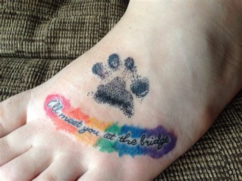 rainbow bridge tattoo rainbow bridge memorial paw print ink
