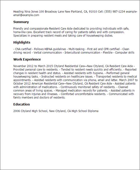 Resume Exles For Health Care Aide Professional Resident Care Aide Templates To Showcase Your Talent Myperfectresume