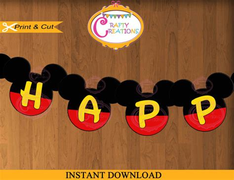printable disney birthday banner instant download printable happy birthday mickey mouse