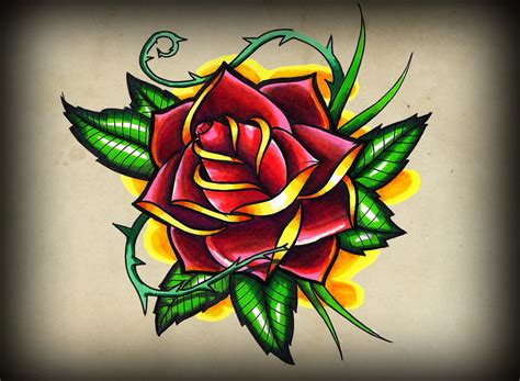 new school rose tattoo design school flash pictures to pin on