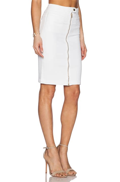 7 for all mankind front zip pencil skirt in white lyst