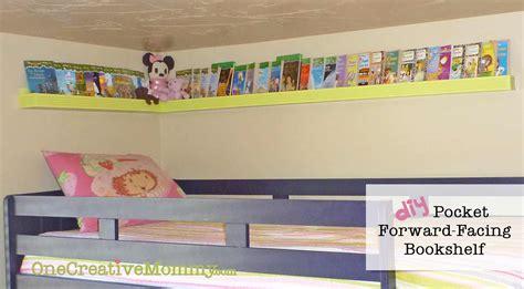 Top Bunk Bed Shelf Diy Pocket Front Facing Book Shelves For Onecreativemommy