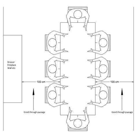 draw room dimensions ideal space around dining table drawing technical