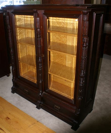 bookcase with frosted glass doors glass door bookcase eastlake victorian solid walnut