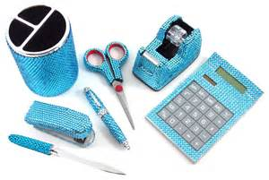 Bling Desk Accessories 7 Teal Blue Office Supply Set Pen Scissors Calc Dispenser Stapler Ebay