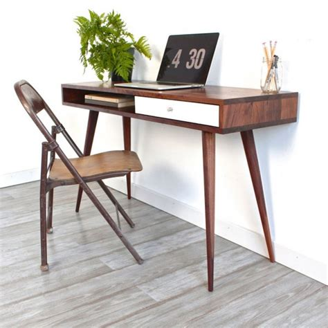 small wood writing desk grey composite floor for modern home office with small