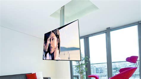 support tv au plafond en portefeuille avec descente et