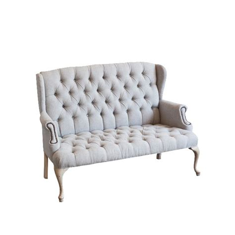 button tufted settee cammie wingback settee at found vintage rentals pale grey
