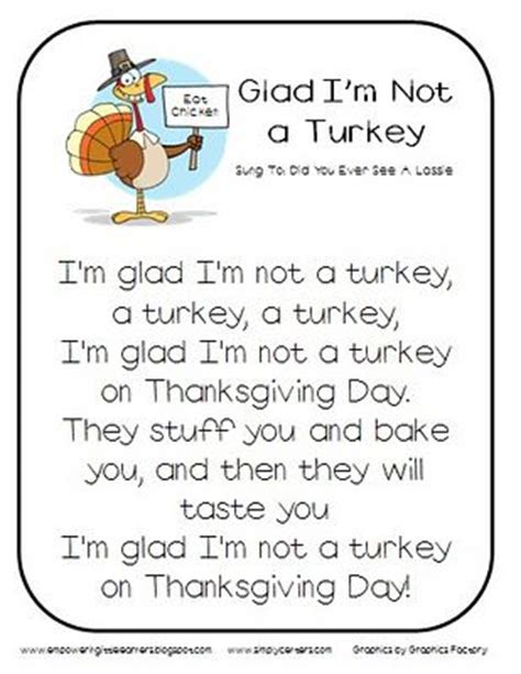 printable turkey poem glad i m not a turkey song thanksgiving classroom and
