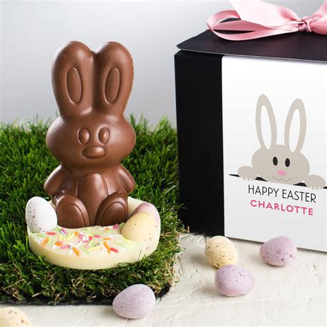 easter chocolate handmade chocolate easter bunny in gift box by quirky gift
