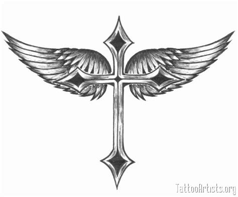 tattoos of crosses with wings winged cross artists org