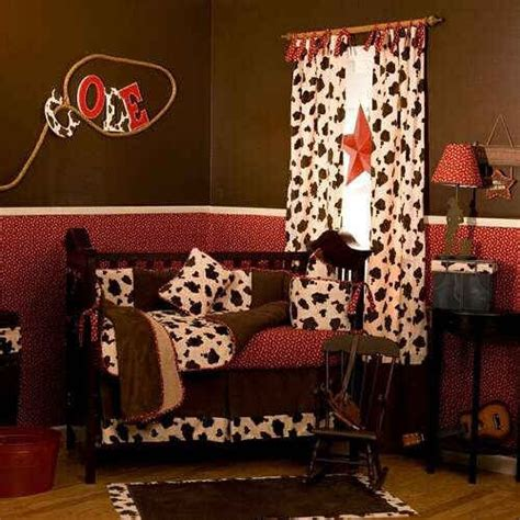 Cowboy Nursery Minus The Cow Print Curtains Baby Room Cow Print Crib Bedding