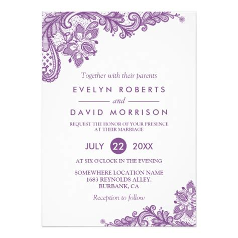 wedding details card template purple lace lavender purple white formal wedding card