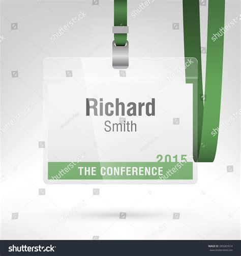 convention name card holder template conference badge name tag placeholder blank stock vector