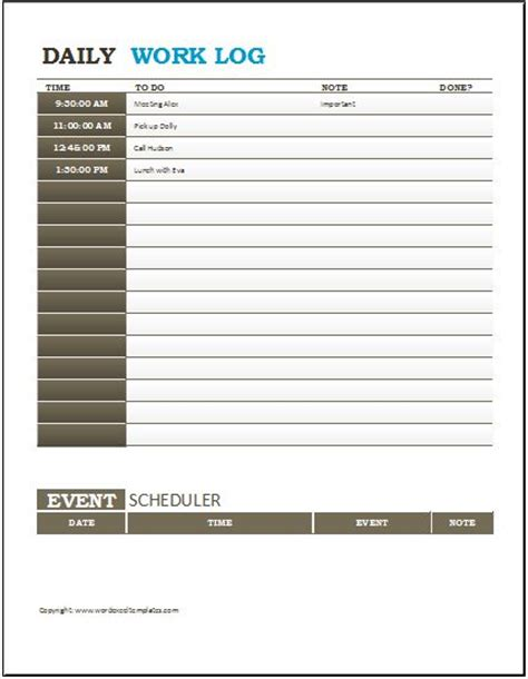 daily work log template daily log template daily work log sheet template work log
