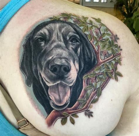 black lab tattoo black lab and madrone branch by edward lott tattoonow