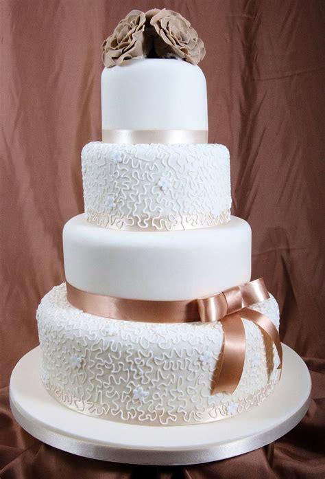 Wedding Cake Ribbon by Wedding Cake With Brown Ribbon