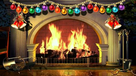 Virtual Christmas Fireplace With Music   Free video 1080p