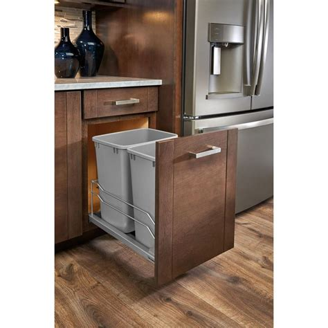 Kitchen Cabinet Trash Pull Out Rev A Shelf 35 Qt Pull Out Silver Waste Container With Soft Slides 53wc1835scdm217