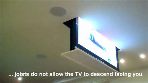 Ceiling Drop Tv Lift by Drop Swivel Motorized Tv Lift Installation