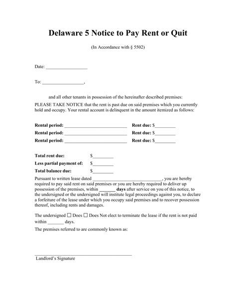 Lease Quit Notice free delaware 5 day notice to quit form non payment of