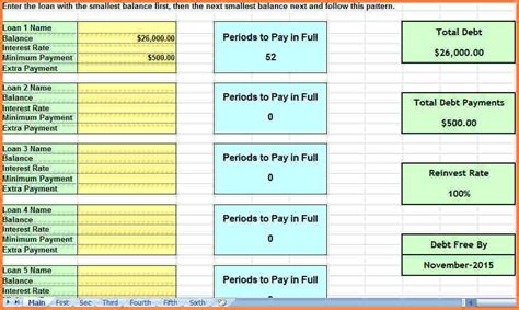Snowball Spreadsheet by 7 Snowball Spreadsheet Excel Spreadsheets