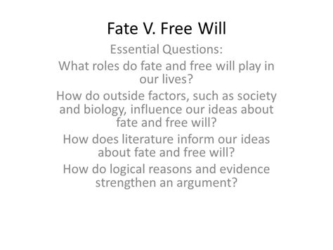 essential questions for themes in literature fate v free will essential questions ppt download