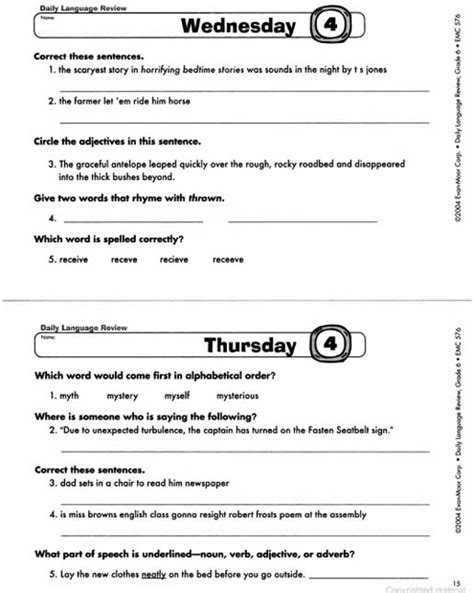 Daily Language Review Grade 5 Worksheets by Daily Language Review Grade 6