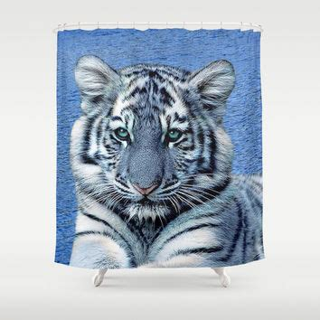 tiger bathroom accessories blue maltese tiger shower curtain by from society6 home