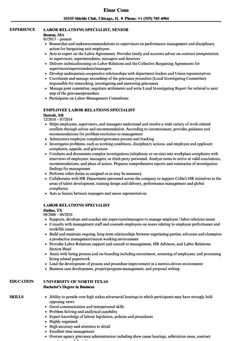 Labor Relations Specialist Cover Letter by Labor Relations Specialist Resume Sles Velvet