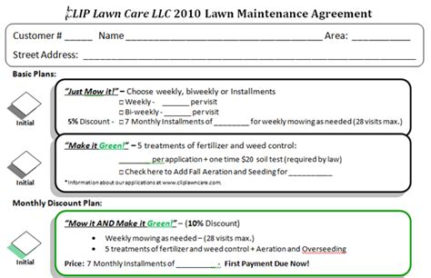 Lawn Service Contract Template With Sample Mowing