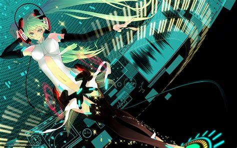 hatsune miku anime girl with headphones download wallpaper art girl vocaloid hatsune miku free
